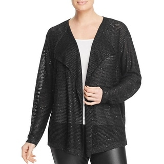 Sioni Womens Plus Cardigan Top Sequined Chiffon Layer