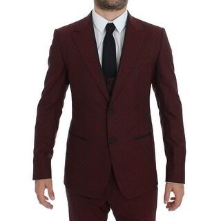 Dolce & Gabbana Dolce & Gabbana Bordeaux Wool Stretch Slim 3 Piece Suit