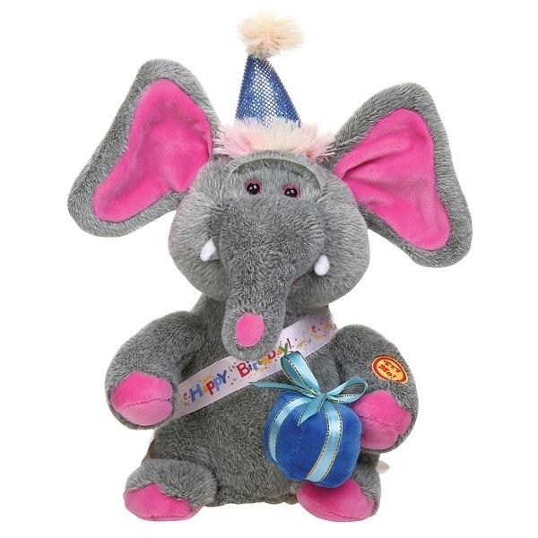 Singing Elephant - Happy Birthday Song Plush Stuffed Animal - gray