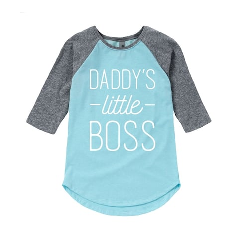 Daddys Little Boss - Mothers Day Fathers Day Gift Toddler Girl Shirt Tail Raglan - Light Blue/Ath Hea