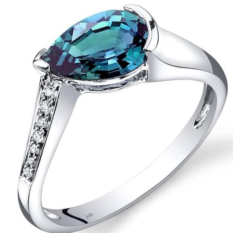 14 Karat White Gold Created Alexandrite Diamond Ring 1.54 Carats