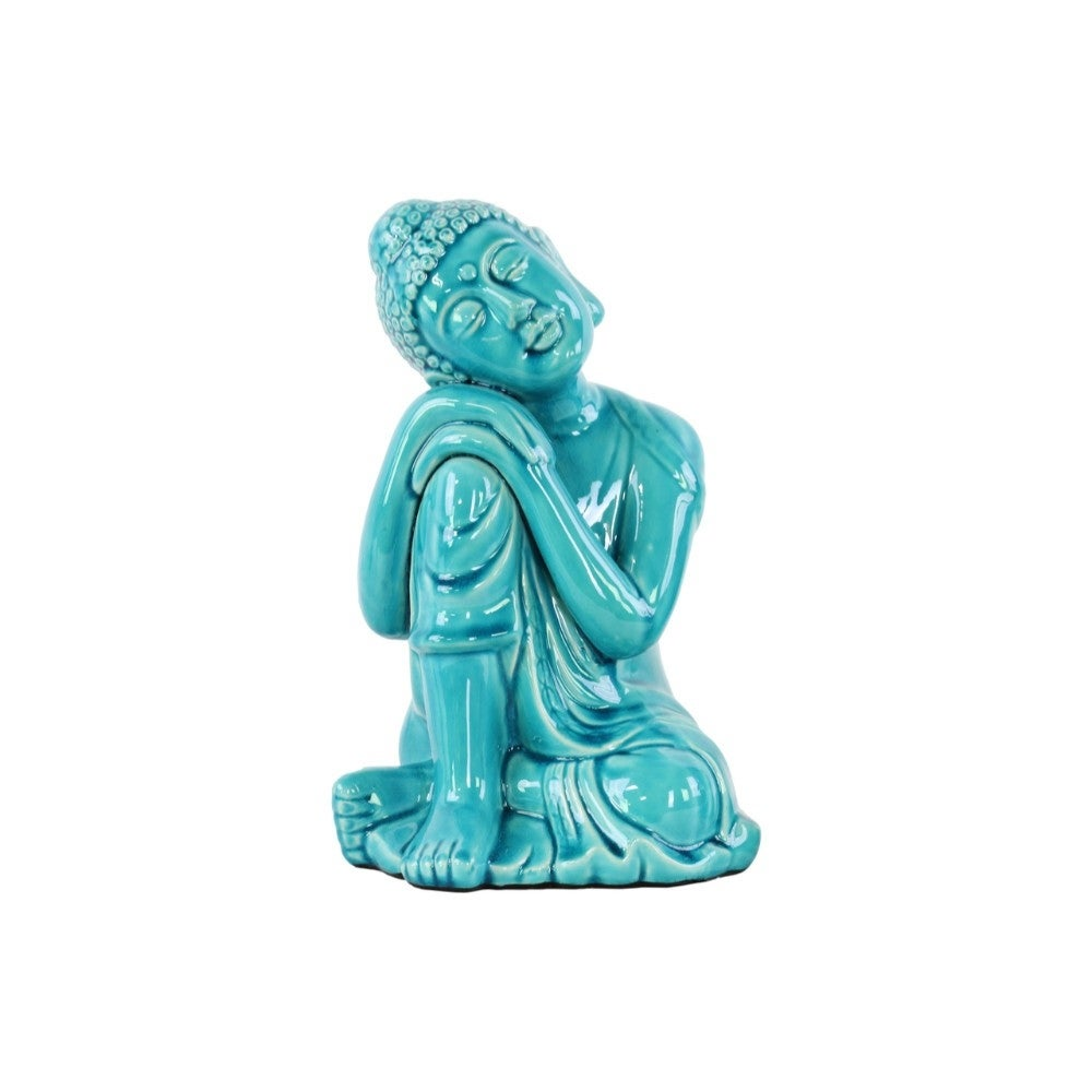 Ceramic Sitting Buddha Figurine, Blue