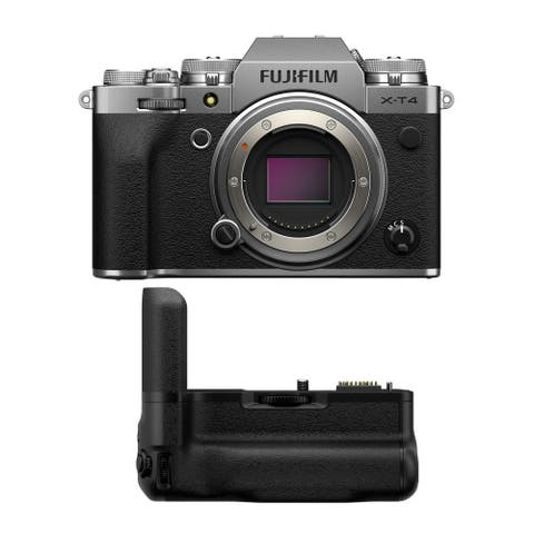 Fujifilm X-T4 Mirrorless Camera (Silver) with Vertical Battery Grip