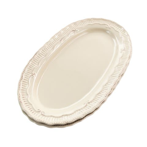 Home Accents 2 Piece Capri 16 Inch Oval Stoneware Platter Set in Sand