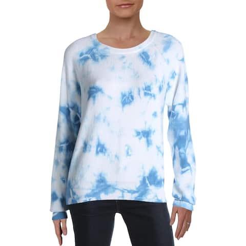 Aqua Womens Clover Pullover Sweater Cotton Tie-Dye - Blue Tie-Dye - S