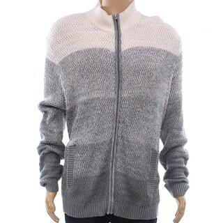 Alfani Gray Mens Size Medium M Ombre Colorblock Full Zip Sweater