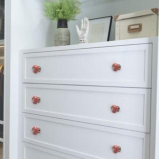 Ceramic Vintage Knob Drawer Round Handle Cupboard Wardrobe Dresser 8pcs Pink