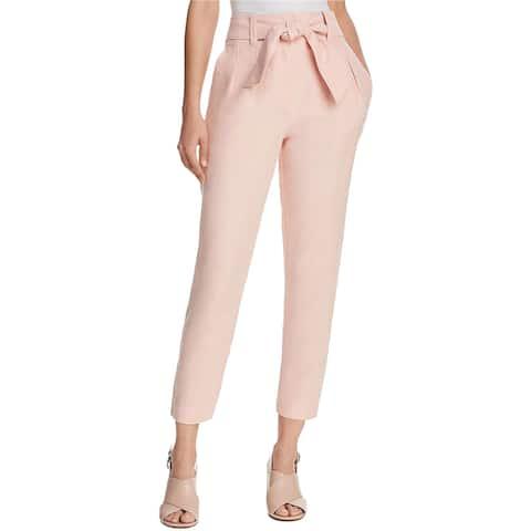 Joie Womens Belted Jun Crop Dress Pants, pink, 4