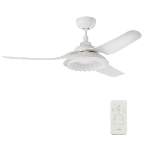 Daisy 52-inch Indoor/Outdoor White Smart Ceiling Fan, Dimmable LED Light and Remote, Works with Alexa/Google Home/Siri