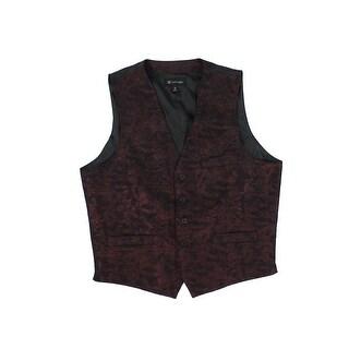 INC Burgundy Red Mens Size 3XL Slim Fit Jacquard Metallic Suit Vest