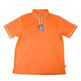 PGA TOUR Men's Polo Shirt - Orange w/ White Trim - Small