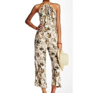 Free People NEW Beige Women's Size 4 Floral Twisted Halter Jumpsuit
