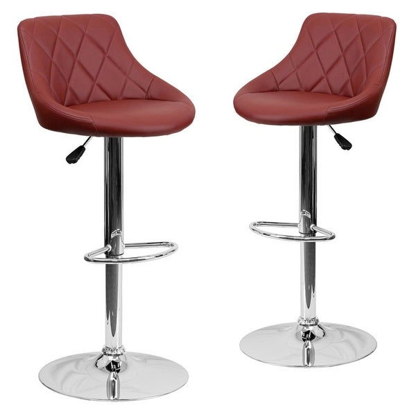 Belleze 2 PC Bucket Style Seat Adjustable Bar Stool Footrest Chrome Base,  (Burgundy