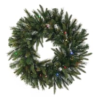"24"" Pre-Lit Mixed Cashmere Pine Artificial Christmas Wreath - Multi-Color LED Lights"