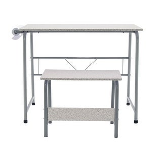 Offex Kids Project Center Includes Art Learning Table with Bench - Gray/Spatter Gray