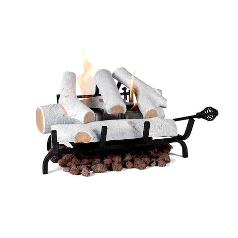 """Ventless Gel Fuel Fire Log Insert - Birch - 18"""""""