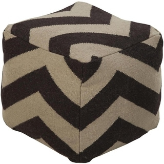 "18"" Chocolate Brown and Beige Zigzag Print Square Wool Pouf Ottoman"