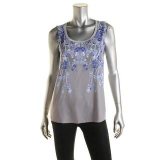 T Tahari Womens Lotus Floral Print Sleeveless Pullover Top