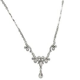Silvertone Austrian Crystals Teardrop Necklace - 15in