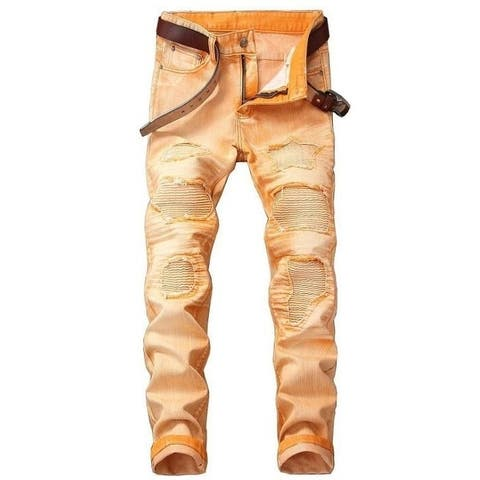 Men's Jeans Ripped Skinny Destroyed Jeans Pants With Holes