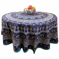 "Handmade 100% Cotton Elephant Mandala Floral 81"" Round Tablecloth Blue"