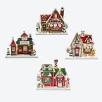 """Set of 4 North Pole LED Buildings Christmas Table Top - Pre-Lit 9.75"""" - green"""
