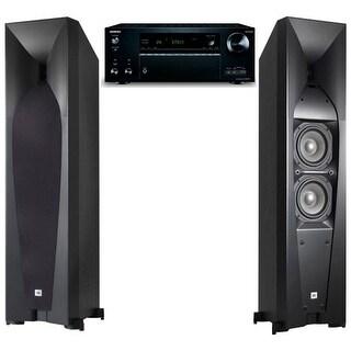JBL Studio 580 Tower Speakers with Onkyo TX-NR777 7.2 Channel AV Network Receiver
