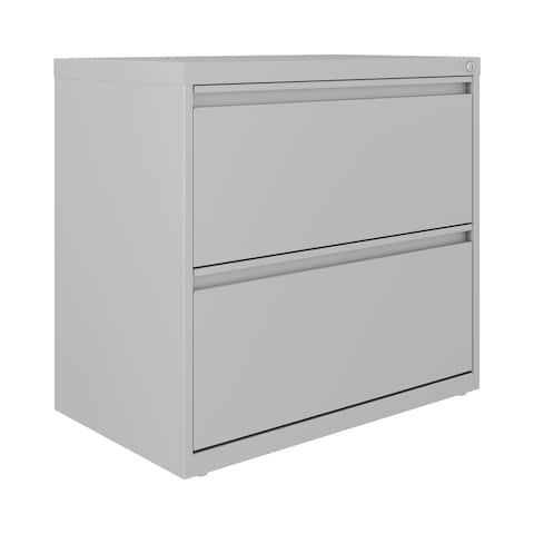 Hirsh 30 Inch Wide 2 Drawer Lateral 101 File Cabinet, Arctic Silver
