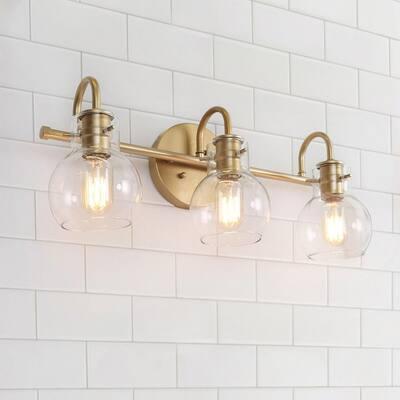 "Modern Gold 3-light Bathroom Vanity Light Globe Glass Wall Sconces - L22""x W7""x H9"""