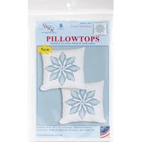 "Stamped White Pillowtops 15""X15"" 2/Pkg-Floral Pinwheel"