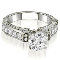 1.55 cttw. 14K White Gold Antique Round Cut Diamond Engagement Ring