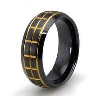 Golden Groove Black Ceramic Ring