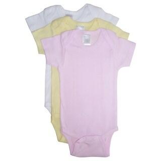 Bambini Baby Girls Pink Yellow White Rib Knit Cotton 3-Pack Bodysuits