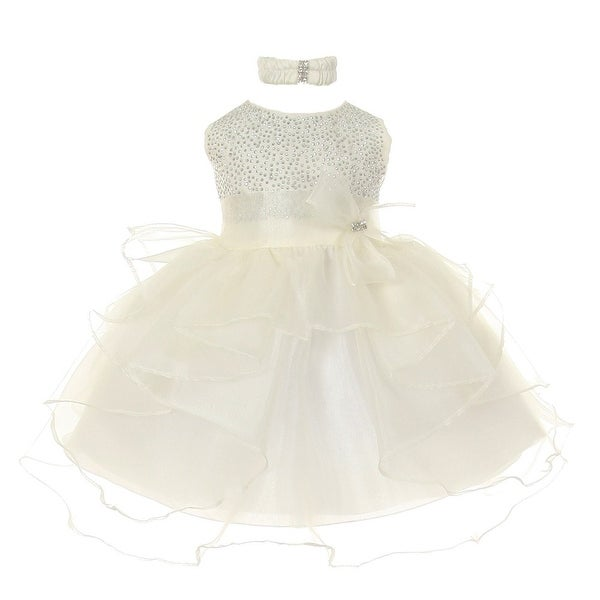 Baby Girls Ivory Organza Rhine studs Bow Sash Flower Girl Dress 6-24M
