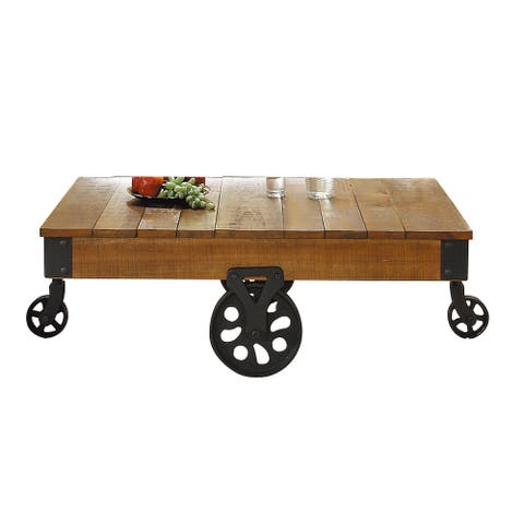 Plank Style Wooden Cocktail Table with Casters, Brown and Black