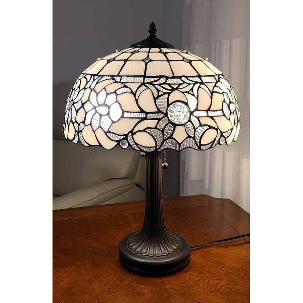 Tiffany Style White Table Lamp 24 Inches Tall Am316tl16b Amora Lighting Overstock 21946254