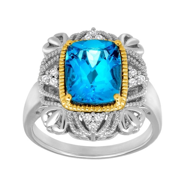 3 1/2 Swiss Blue Topaz Ring with Diamonds in Sterling Silver
