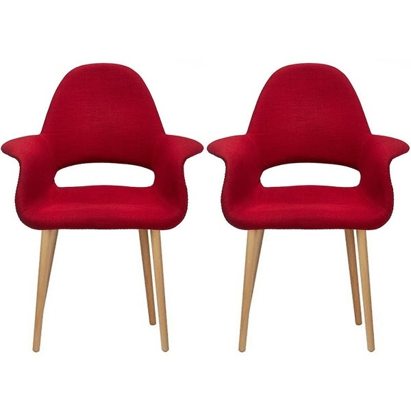 2xhome   Fabric Mid Century Modern Accent Chairs Natural Leg In (Red)