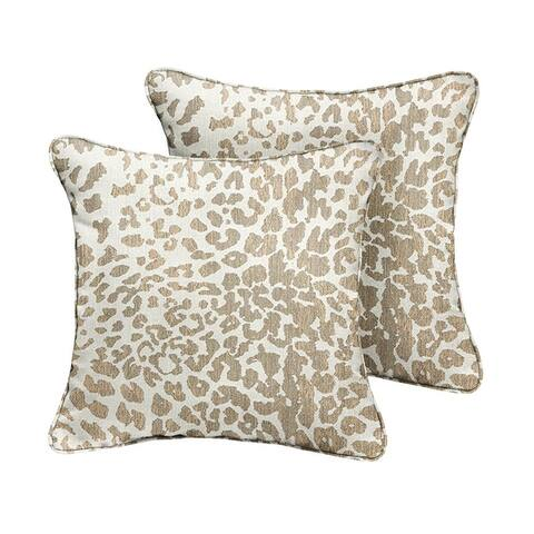 Sunbrella Tan Leopard Indoor/Outdoor Pillows, Set of 2, Corded