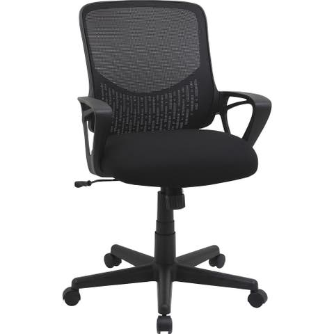 Lorell Value Collection Mesh Back Task Chair - Black Fabric Seat - Black Fabric Back - 1 Each