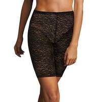 Maidenform Sexy Lace Firm Control Thigh Slimmer - Size - S - Color - Black w/Body Beige Lining