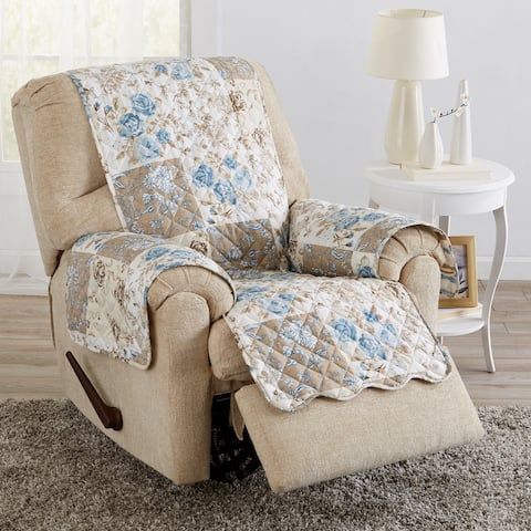Great Bay Home Maribel Floral Patchwork Reversible Recliner Furniture Protector