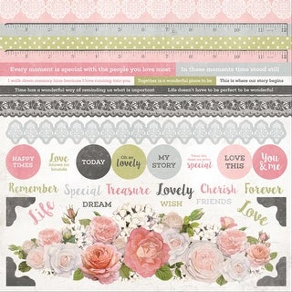 """Cottage Rose Cardstock Stickers 12""""X12""""-"""