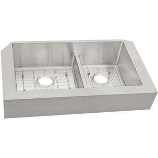 """Elkay ECTRAF3220RBG Crosstown 31-1/2"""" x 20-1/4"""" x 9"""" Stainless Steel Double Bowl Apron Front Sink w/Aqua Divide"""