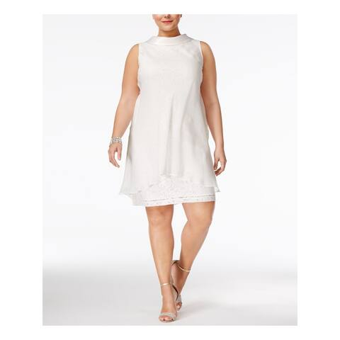 SLNY Womens Ivory Sleeveless Knee Length Shift Formal Dress Size 16W