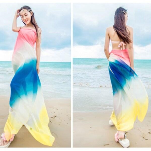 1ef31ae48e9d3 Shop Large Chiffon Swimwear Scarf Beach Cover Up Wrap Sarong Scarf ...
