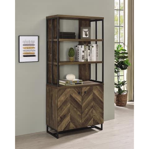 Millbrook Rustic Oak Herringbone and Gunmetal 2-door Bookcase