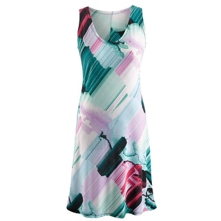 Women's Patio Party Sundress - Brushstroke Sleeveless Scoop Neck