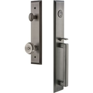 """Grandeur FAVDGRBOU_ESET_234  Fifth Avenue Solid Brass Rose Keyed Entry Single Cylinder """"D"""" Grip Handleset with Bouton Knob and"""