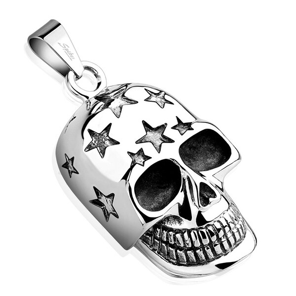 Skull with Carved Stars Stainless Steel Pendant (23.5 mm Width)